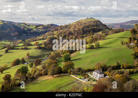 View west from the Panorama walk on the Offa's Dyke path on Ruabon Mountain showing the ruins of Castell Dinas Bran - Stock Photo