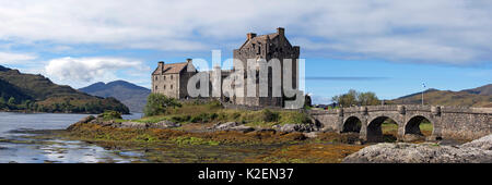 Eilean Donan Castle in Loch Duich, Ross and Cromarty, Western Highlands of Scotland, UK, September, 2016 - Stock Photo