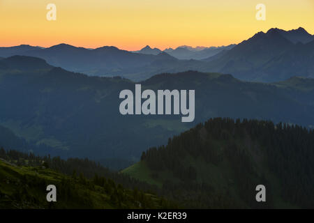 The view east to the Brienzer Rothorn, seen from the Gemmenalphorn at sunrise. Bernese Alps, Canton of Berne, Switzerland, - Stock Photo