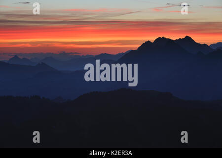 The view east to the Brienzer Rothorn seen from the Gemmenalphorn (061m) at sunrise, Bernese Alps, Canton of Berne, - Stock Photo