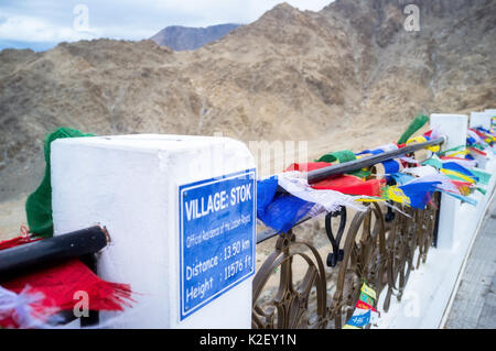 Shanti stupa in Leh Ladakh, Jammu and Kashmir, India - Stock Photo