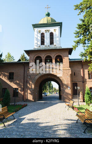 Plumbuita monastery in Bucharest, Romania - entrance and bell tower - Stock Photo