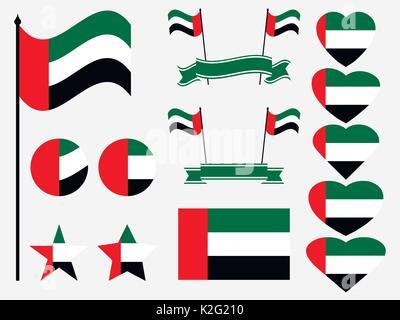 United Arab Emirates flag set. Collection of symbols, flag in heart. Vector illustration - Stock Photo