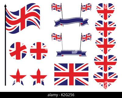 Great Britain flag set. Collection of symbols, flag in heart. Vector illustration - Stock Photo