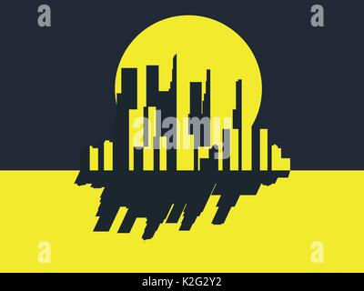 Skyscrapers night. Panorama of a big city in retro style. Yellow with black. Noir. Vector illustration - Stock Photo