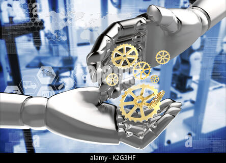 Robots , artificial intelligence disruptive and destroy human jobs. Industrial revolution , industry 4.0 technology - Stock Photo