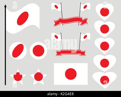 Japan flag set. Collection of symbols, flag in heart. Button and star. Vector illustration - Stock Photo