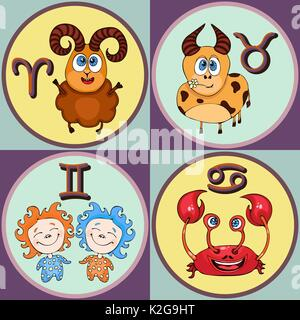 Set zodiac sign cartoon, Aries, Taurus, Gemini, Cancer. Painted funny astrological characters and symbols in a round - Stock Photo