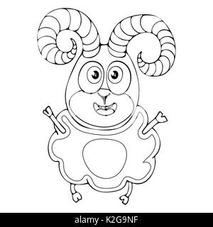 Cartoon funny ram for coloring book isolated on white background, vector black and white hand drawing, monochrome - Stock Photo