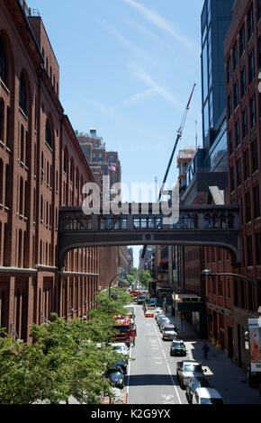 View down West 16th Street in Meatpacking District Viewed from High Line Bridge Park - New York - USA - Stock Photo