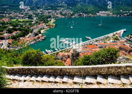 Kotor Bay Old Castle steps in Kotor, Montenegro - Stock Photo