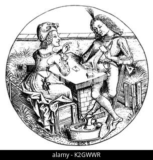 Lost part. Card player in the 15th century. Facsimile of the copper engraving by Israhel van Meckenem - Stock Photo