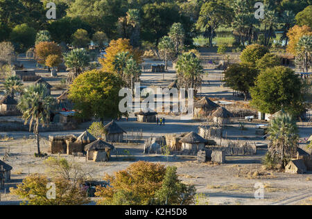 Native village just outside of the protected area, aerial view, Okavango Delta, Botswana - Stock Photo