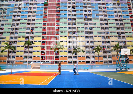 Choi Hung Estate in Hong Kong - vibrant and amazing architecture - Stock Photo