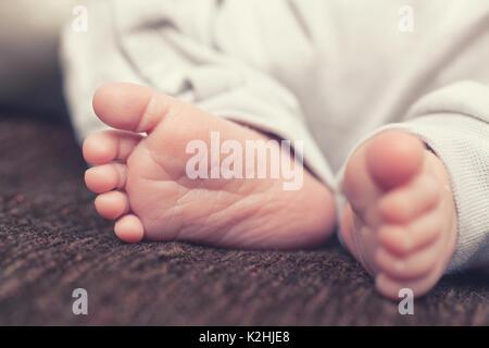 Baby's feet on brown blanket - Stock Photo