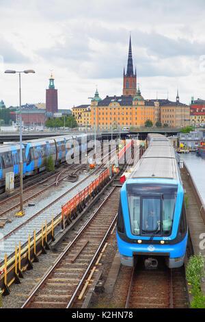Stockholm, Sweden - July 25, 2017: Metro trains near Slussen station in Stockholm - Stock Photo