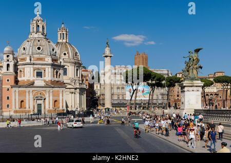 Trajan's Column,Santa Maria di Loreto church and Church of the Most Holy Name of Mary at the Trajan Forum seen from - Stock Photo