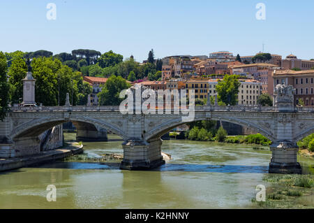 Ponte Vittorio Emanuele II over the Tiber river in Rome, Italy - Stock Photo