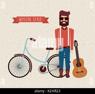 avatar man hipster style isolated icon - Stock Photo
