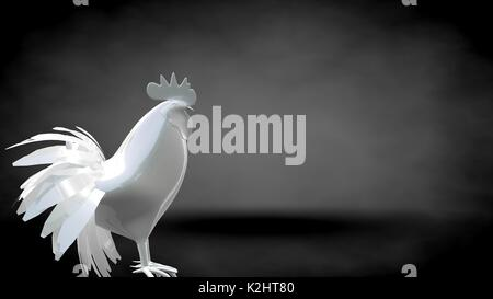 3d rendering of a reflective rooster on a dark black background - Stock Photo