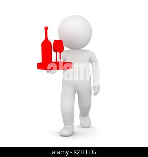 3D Rendering of a waiter bringing a bottle of wine - Stock Photo