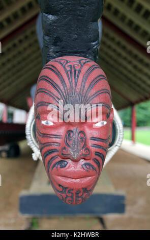 waka Maori canoe Waitangi New Zealand - Stock Photo