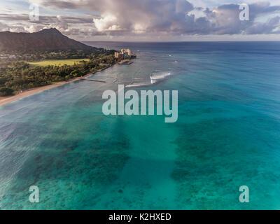 Aerial view of Diamond Head, the Ocean and beach in Waikiki Honolulu Hawaii Stock Photo