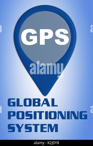 3D illustration of 'GPS' script on a location marker, isolated on blue gradient, with the script 'GLOBAL POSITIONING - Stock Photo