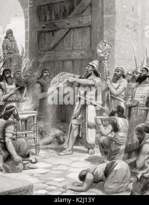 After capturing and destroying the fortress of Arinnu, Shalmaneser I poured out its dust before his God at the gate - Stock Photo