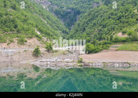 Komani lake and its valley in Albania - Stock Photo