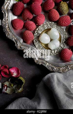 Litchis or Lychee, a traditional Chinese fruit - Stock Photo