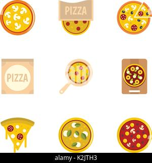 Delicious pizza icons set, flat style - Stock Photo