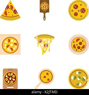 Mushroom pizza icons set, flat style - Stock Photo