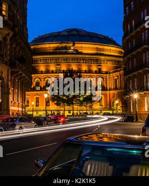 Lights around the Royal Albert Hall at dusk, London, UK - Stock Photo