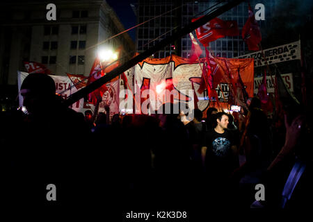 Buenos Aires, Argentina - 1st May 2017: Impressions of Labour Day Protests on Plaza de Mayo in Buenos Aires. - Stock Photo