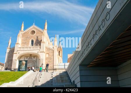 San Jeronimo El Real church and The Prado Museum enlargement. Madrid, Spain. - Stock Photo