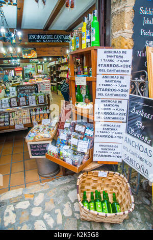 Typical products in a grocery shop. Santillana del Mar, Cantabria, Spain. - Stock Photo