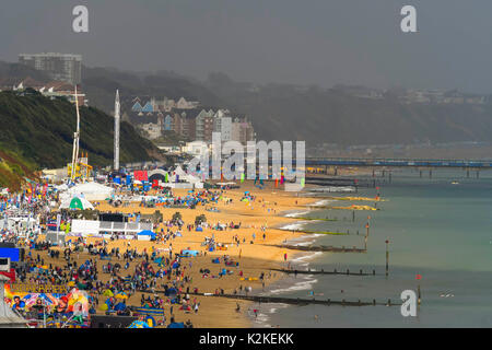 Bournemouth, Dorset, UK. 31st Aug, 2017. UK Weather. View along the beach as the torrential rain passed over and - Stock Photo