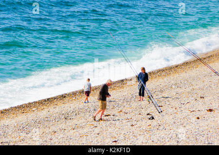 Chesil Beach, Portland, UK. 31st Aug, 2017. People enjoyed another sunny day, fishing and walking on Chesil beach - Stock Photo