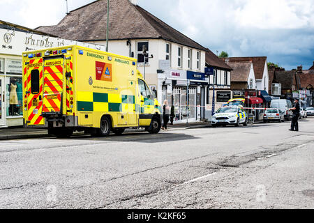 The Street, Ashtead, Surrey, United Kingdom, 31st August 2017. Emergency Serives Attend the scene of a serious Road - Stock Photo