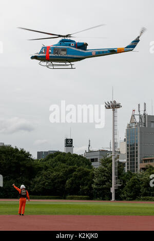 Tokyo, Japan. 1st Sep, 2017. Tokyo Governor Yuriko Koike descends on a helicopter during a Disaster Countermeasure - Stock Photo
