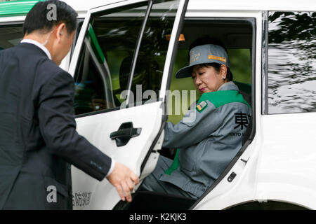 Tokyo, Japan. 1st Sep, 2017. Tokyo Governor Yuriko Koike leaves a Disaster Countermeasure Emergency drill on September - Stock Photo