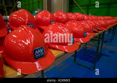 Wismar, Germany. 1st Sep, 2017. Protective gear for the 90 new apprentices and 12 dual university students can be - Stock Photo
