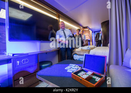 Wismar, Germany. 1st Sep, 2017. Guests of the opening party inspect the first passenger cabin on the production - Stock Photo
