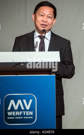 Wismar, Germany. 1st Sep, 2017. The chairman of the Malaysian Genting Group Colin Au speaks during the opening of - Stock Photo