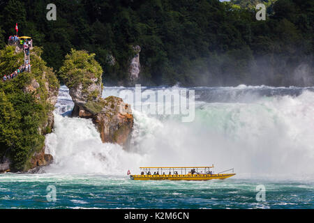 Rhine Falls - the largest waterfall in Europe, River Rhine, Schaffhausen, Swiss. - Stock Photo