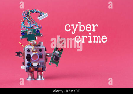 Cybercrime and data hacking concept. Retro robot with usb flash storage stick, stylish computer character blue eyed - Stock Photo