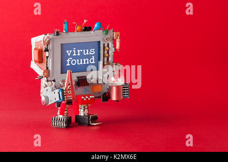 Virus found and cyber safety concept. Tv robot handyman with pliers and light bulb in hands. Warning message spyware - Stock Photo