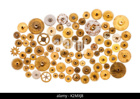 Cogs gears wheels steampunk ornament on white background. Vintage clockwork parts closeup. Abstract shape object - Stock Photo