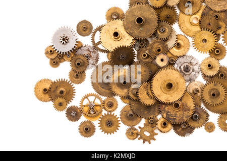 Cogs gears wheels steampunk elements on white background. Vintage clockwork parts closeup. Abstract shape object - Stock Photo